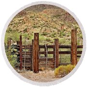 Desert Corral Round Beach Towel