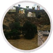 Desert Cottages Round Beach Towel