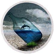 Desert Dolphin Bottle Nature Round Beach Towel