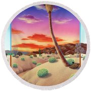 Desert Gazebo Round Beach Towel