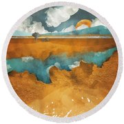 Desert Lake Round Beach Towel