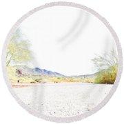 Desert Landscape 001 Round Beach Towel