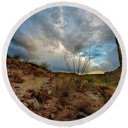 Desert Landscape With Clouds Round Beach Towel