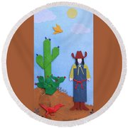 Desert Roadrunner By Mary Ellen Palmeri Round Beach Towel
