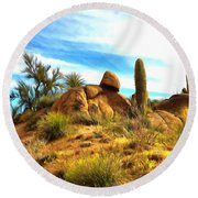 Desert Scene Near Sedona Arizona Painting Round Beach Towel