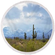 Desert Snow Round Beach Towel