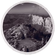 Desert View At Grand Canyon Arizona Bw Round Beach Towel