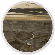 Desert View II - Anselized Round Beach Towel