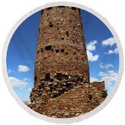 Desert View Watchtower At Grand Canyon Round Beach Towel