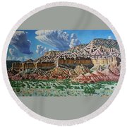 Ghost Ranch New Mexico Round Beach Towel