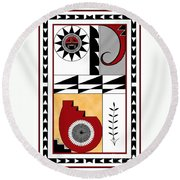 Southwest Collection - Design Five In Red Round Beach Towel
