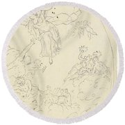 Design For A Ceiling Painting With A Triumph Of Minerva, In Oval, Dionys Van Nijmegen Possibly, 17 Round Beach Towel