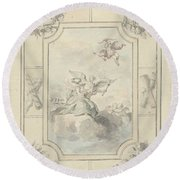 Design For A Ceiling Painting With Allegory Of Peace, Dionys Van Nijmegen, 1715 - 1798 Round Beach Towel
