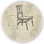 Design For A Chair, Carel Adolph Lion Cachet, 1874 - 1945 Round Beach Towel