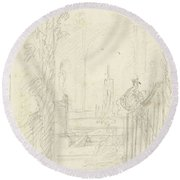 Design For A Garden View With A Peacock On A Fence, Dionys Van Nijmegen Possibly, 1715 - 1798 Round Beach Towel