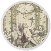 Design For A Gazebo Of Green Trellis, In Which Three Putti Play With Animals, Daniel Marot II, 170 Round Beach Towel