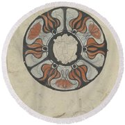 Design For A Memorial Plaque With W And A Coat Of Arms, Carel Adolph Lion Cachet, 1874 - 1945 Round Beach Towel