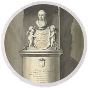 Design For A Monument To C. Brunings A Bust In A Niche, Bartholomeus Ziesenis, 1806 Round Beach Towel