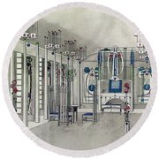 Design For A Music Room With Panels By Margaret Macdonald Mackintosh Round Beach Towel