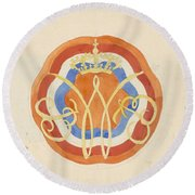 Design For A Plate With A Crowned W, Carel Adolph Lion Cachet, 1874 - 1945 Round Beach Towel