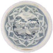 Design For A Plate With A Garden View, Carel Adolph Lion Cachet, 1874 - 1945 Round Beach Towel