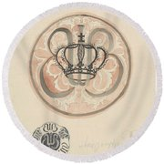 Design For A Plate With Crown And Monogram, Carel Adolph Lion Cachet, 1874 - 1945 Round Beach Towel