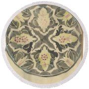 Design For A Plate With Floral Decoration, Carel Adolph Lion Cachet, 1874 - 1945 Round Beach Towel