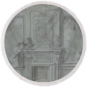 Design For A Room Wall With A Chimney Piece And Paintings, Cornelis Troost, 1720 - 1750 Round Beach Towel