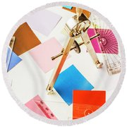 Design In Abstract Geometry Round Beach Towel