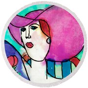 Design Lady Round Beach Towel