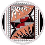 Southwest Collection - Design Three In Red Round Beach Towel