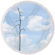 Desolate Tree Round Beach Towel