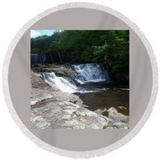 Desoto Falls In Alabama Round Beach Towel