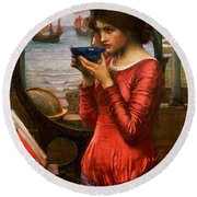 Destiny Round Beach Towel by John William Waterhouse