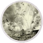 Destruction Of The Us Battleship Maine, 15th February, 1898 Round Beach Towel