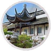 Detail Chinese Garden With Rocks. Round Beach Towel