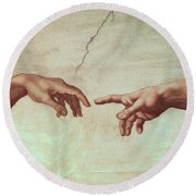 Detail From The Creation Of Adam Round Beach Towel by Michelangelo