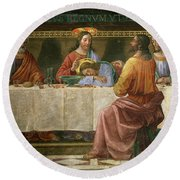 Detail From The Last Supper Round Beach Towel by Domenico Ghirlandaio