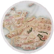 Detail Of A Map Of Rhode Island During French Occupation Round Beach Towel