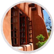 Detail Of A Pueblo Style Architecture In Santa Fe Round Beach Towel