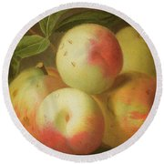 Detail Of Apples On A Shelf Round Beach Towel