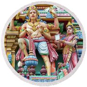 detail of Arulmigu Kapaleeswarar Temple, Chennai, Tamil Nadu Round Beach Towel