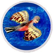 Detail Of Bird People Flying Chaffinch  Round Beach Towel