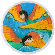 Detail Of Bird People Little Green Bee Eaters Of Upper Egypt 1 Round Beach Towel