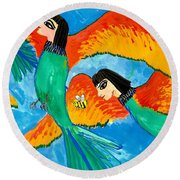 Detail Of Bird People Little Green Bee Eaters Of Upper Egypt 2 Round Beach Towel