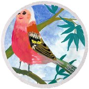 Detail Of Bird People The Chaffinch Family Father Round Beach Towel