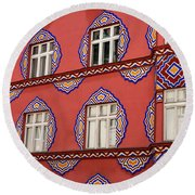 Detail Of Bright Facade Of The Cooperative Business Bank Buildin Round Beach Towel