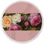 Detail Of Full Blown Roses Round Beach Towel
