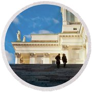 Detail Of Helsinki Cathedral Round Beach Towel