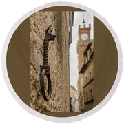 Detail Of Iron On A Wall Of Pienza, Tuscany, Italy Round Beach Towel
